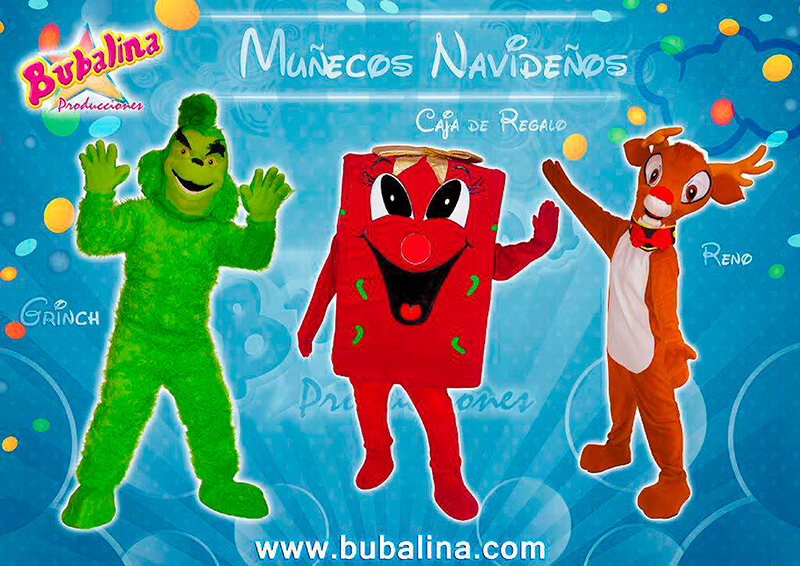 Muñecos navideños para shows infantiles